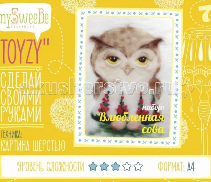 Картины своими руками ToyzyKit Картина шерстью Влюбленная сова toyzykit картина шерстью сова в костюме панды