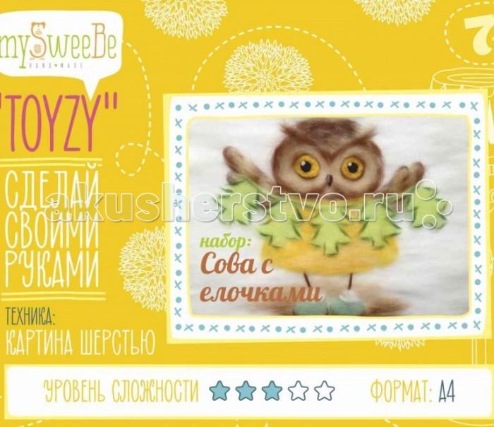 Картины своими руками ToyzyKit Картина шерстью Сова с елочками toyzykit картина шерстью сова в костюме панды