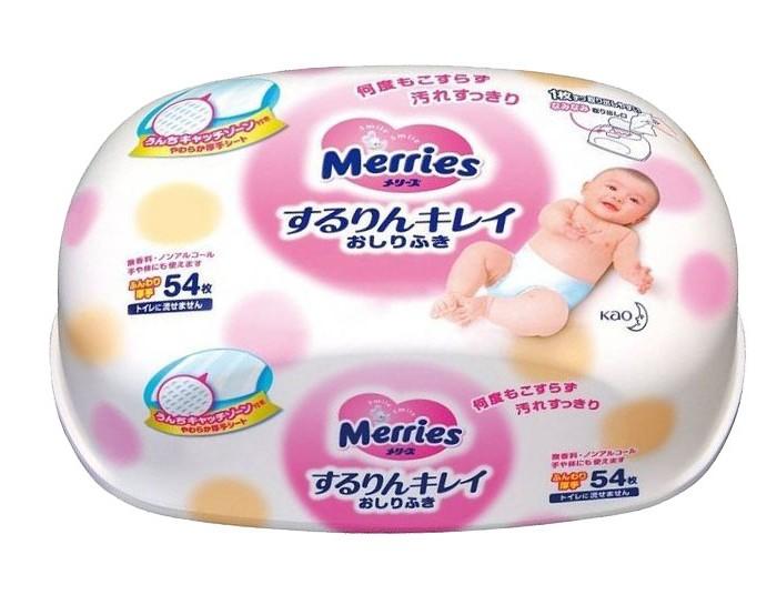 Салфетки Merries Влажные салфетки (контейнер) 54 шт. merries влажные салфетки для новорождённых 54 шт