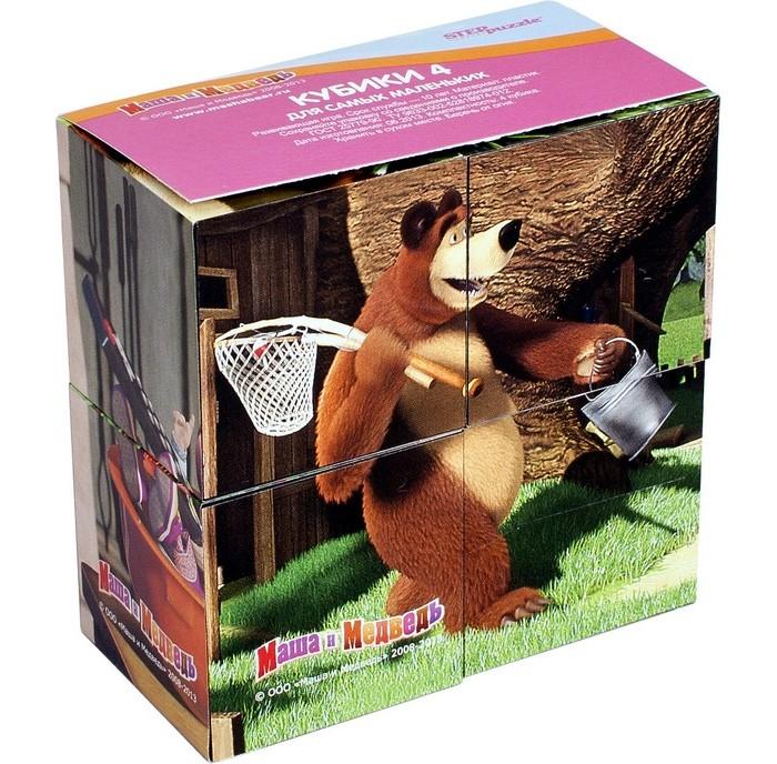 Развивающие игрушки Step Puzzle Кубики Маша и Медведь 4 шт. набор step puzzle пластиковых кубиков анимаккорд 9шт маша и медведь