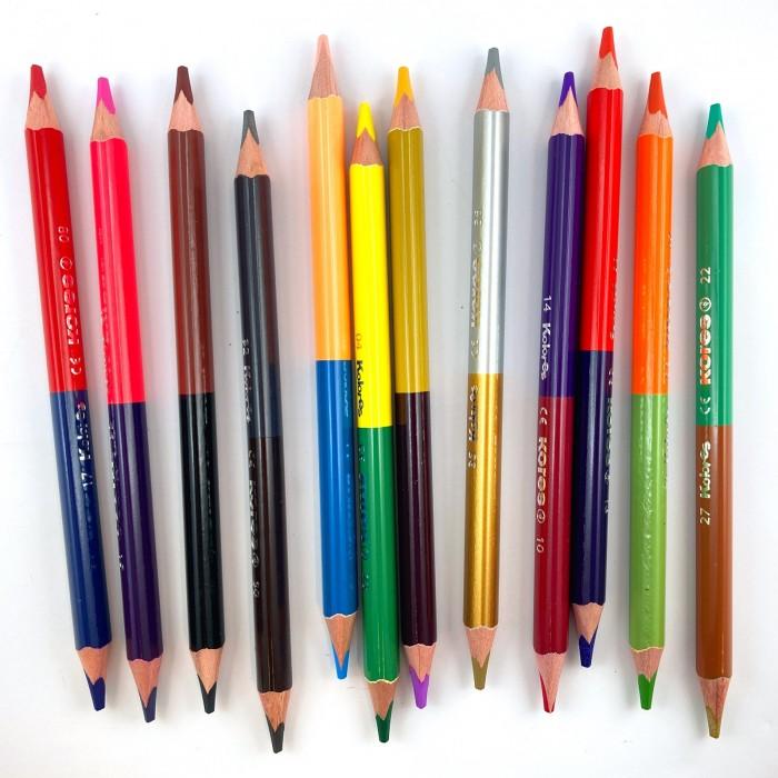 Карандаши, восковые мелки, пастель Kores Карандаши цветные DUO Jumbo трехгранные с точилкой 24 цвета