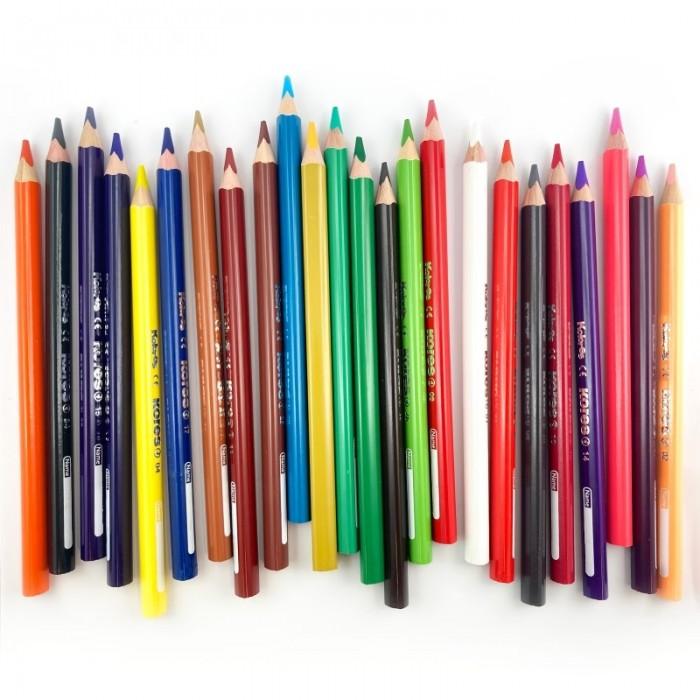 Карандаши, восковые мелки, пастель Kores Карандаши цветные Kolores Jumbo трехгранные с точилкой 24 цвета