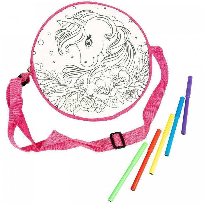 Купить Заготовки под роспись, Bondibon Сумка для раскрашивания Сказочный Единорог круглая 23х23 см
