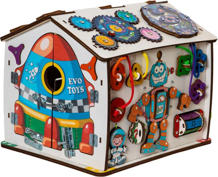 Купить Деревянные игрушки, Деревянная игрушка Evotoys Бизиборд домик Знайка Косморобот со светом