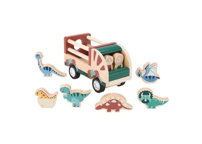 Деревянная игрушка Magni Машинка с динозаврами