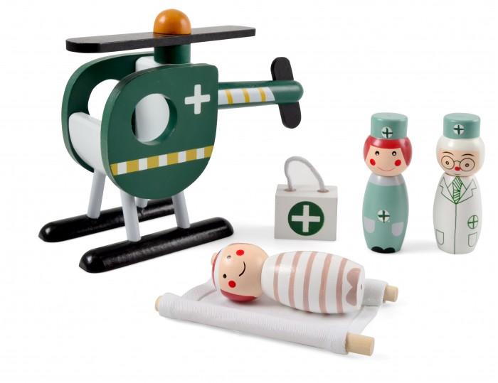 Деревянная игрушка Magni Набор Спасательный вертолет