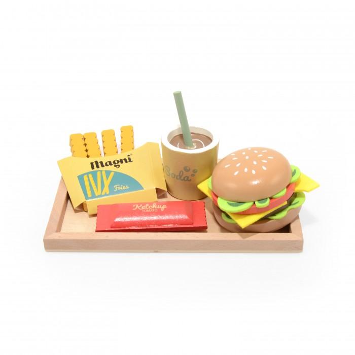 Деревянная игрушка Magni Набор Обед с гамбургером