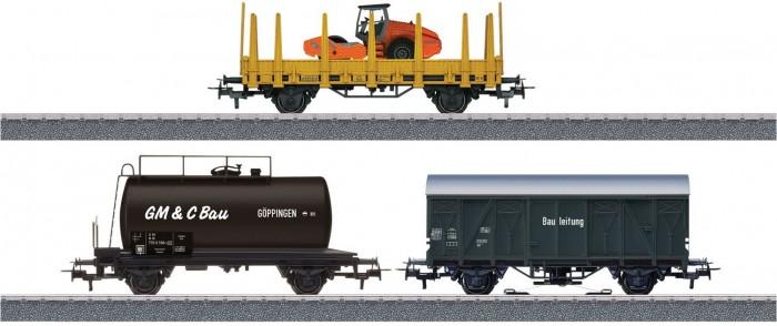 Железные дороги Marklin Дополнительный набор грузовых вагонов для железной дороги Стройплощадка