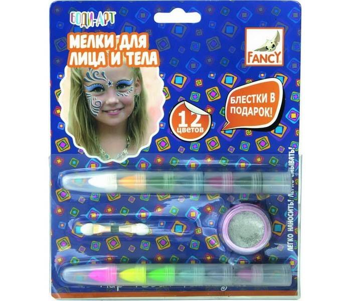 Наборы для творчества Fancy Creative Мелки для лица и тела с блестками 12 цв. наборы для творчества fancy creative набор для плетения резиночками бабочка