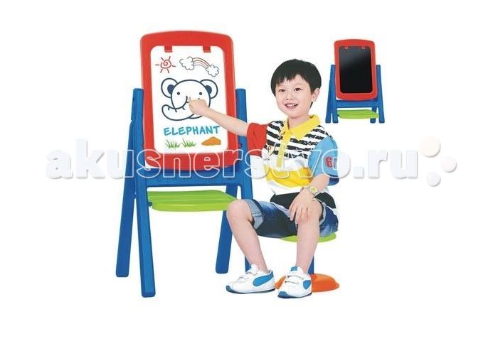 S+S Toys Мольберт со стульчиком 100472878Мольберт со стульчиком 100472878Мольберт предназначен для детского творчества и развития.  Имеет две рабочие поверхности, что позволяет использовать его одновременно двумя детьми.  Первая сторона - магнитная доска, на которой можно рисовать маркером, имеет клипсу для крепления бумаги и маркера.  Вторая сторона для рисования мелками.  Мольберт поможет приобрести навыки работы у доски и подготовить к школе.  Оснащен большим удобным вместительным лотком для хранения необходимых мелочей: красок, маркеров мелков или карандашей.  Можно поменять ножки на более короткие (высота 76 см).  В комплекте: стульчик, пенал для мелочей, магнитный набор (английский алфавит, цифры, знаки препинания), губка, маркер.  Размер: 110 х 51 х 40 см. Размер рабочей поверхности: 45 х 32 см.<br>