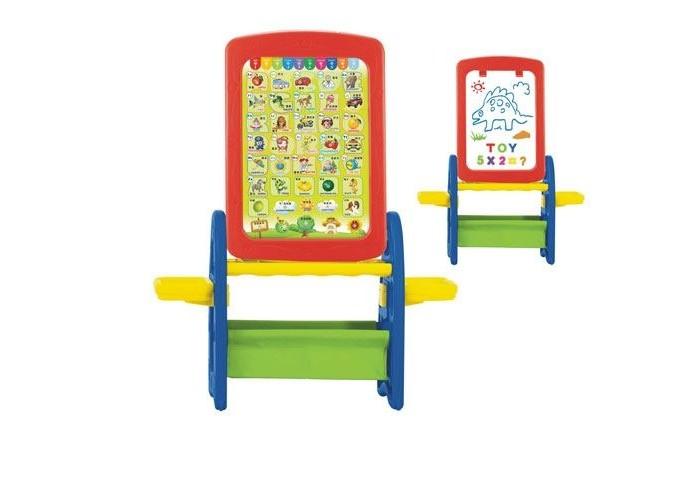 S+S Toys Игровой обучающий Мольберт 100472918Игровой обучающий Мольберт 100472918Мольберт предназначен для детского творчества и развития.  Имеет две рабочие поверхности, что позволяет использовать его одновременно двумя детьми.  Первая сторона - магнитная доска, на которой можно рисовать маркером, имеет клипсу для крепления бумаги и маркера.  Вторая сторона - игровой плакат на английском языке.  Верхняя панель имеет 2 отверстия для стаканов, по бокам 2 столика.  Мольберт поможет приобрести навыки работы у доски и подготовить к школе.  Оснащен большой удобной вместительной корзиной для хранения необходимых мелочей: красок, маркеров мелков или карандашей.  В комплекте: корзина для мелочей, магнитный набор (английский алфавит, цифры, знаки препинания), губка, маркер.  Размер: 95 х 74 х 31 см. Размер рабочей поверхности: 45 х 32 см.<br>