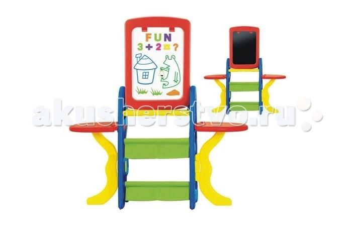 S+S Toys Детская парта-мольберт Арт-студия 100472884Детская парта-мольберт Арт-студия 100472884Мольберт предназначен для детского творчества и развития.  Имеет две рабочие поверхности, что позволяет использовать его одновременно двумя детьми.  Первая сторона - магнитная доска, на которой можно рисовать маркером, имеет клипсу для крепления бумаги и маркера.  Вторая сторона для рисования мелками.  Верхняя панель имеет 2 отверстия для стаканов, по бокам 2 столика.  Мольберт поможет приобрести навыки работы у доски и подготовить к школе.  Оснащен двумя вместительными корзинами для хранения необходимых мелочей: красок, маркеров мелков или карандашей.  В комплекте: две вместительные корзины для мелочей, магнитный набор (английский алфавит, цифры, знаки препинания), маркер, губка.  Размер: 120 х 115 х 33 см. Размер рабочей поверхности: 45 х 32 см.<br>