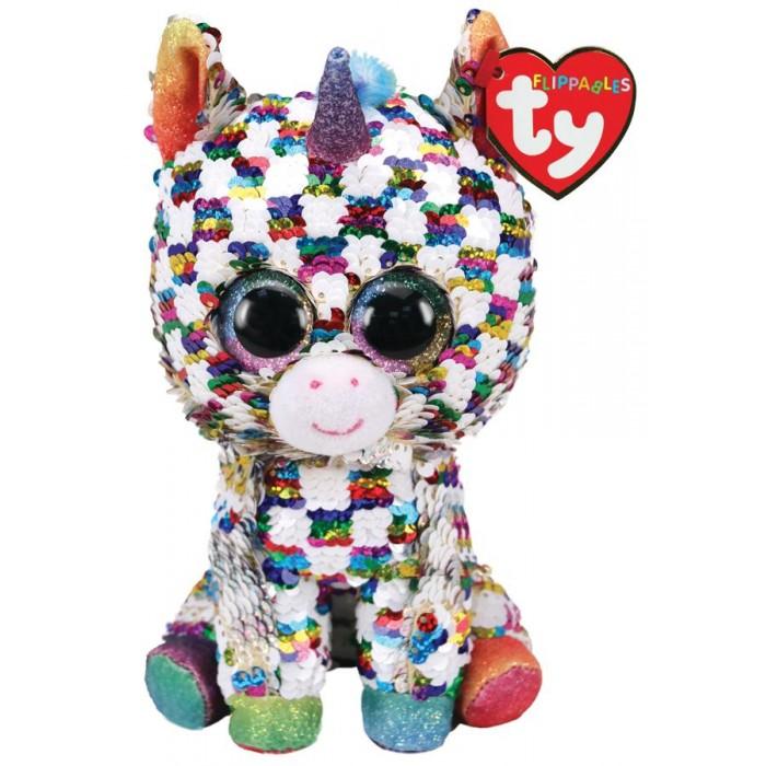 Мягкие игрушки TY Юникорн единорог в разноцветную клетку с пайетками 15 см