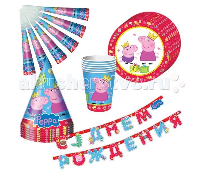 Товары для праздника Olala Набор посуды 25 предметов Пеппа-принцесса товары для праздника olala салфетки barbie двухслойные 20 штук