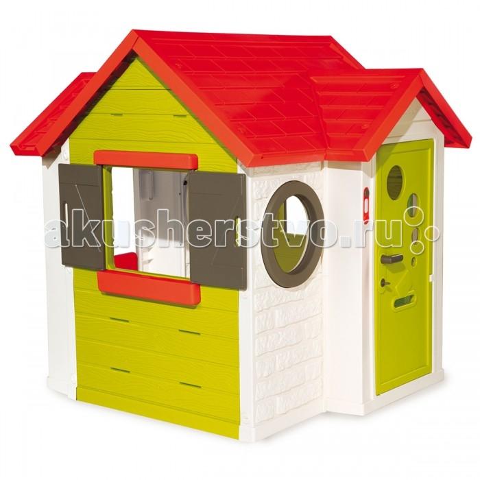 Smoby Игровой домик со звонкомИгровой домик со звонкомИгровой домик Smoby со звонком продуман дизайнерами специально для детских игр. Он станет настоящим уютным домиком для малышей от 3 лет. Особенно порадует детей наличие настоящего электронного звонка для гостей и запирающегося на ключик замка входной двери. Ставни на окошках легко открываются и закрываются – поэтому ни на улице, ни в помещении вашему ребенку не будет жарко или холодно.   В дверце предусмотрено отверстие для писем. С задней стороны имеется маленькая дверь. Будучи изготовленным из современного упрочненного пластика ярких цветов, домик легко протирается от пыли влажной тряпкой и не принесет хлопот при использовании.  Особенности: рекомендуется для детей от 3-х лет и старше соответствует европейским стандартам безопасности оригинальный яркий дизайн очень уютный, просторный идеально подходит для игры на даче, на улице, дома конструкция очень устойчивая, прочная, не имеет острых углов не требует дополнительных креплений планировка: 2 мансардных окошка, 2 окошка со ставенками и 2 иллюминатора, дверь для работы звонка необходимы батарейки ААА*2шт (не входят в комплект) легко собирается и разбирается легко содержать в чистоте, так как может подвергаться влажной обработке<br>