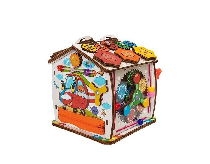 Деревянная игрушка Evotoys Домик развивающий Смайлики на вертолетике 19х19 см