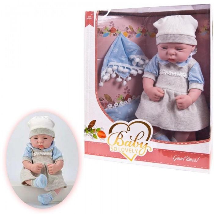Junfa Кукла Baby So Lovely пупс в платье с шапочкой и носочками с аксессуарами 38 см