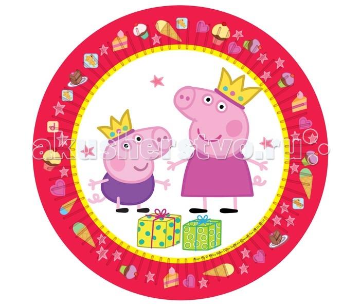 Товары для праздника Olala Тарелки Пеппа-принцесса 23 см 6 штук товары для праздника olala подарочный набор посуды пеппа принцесса