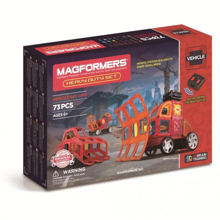 Конструктор Magformers Heavy Duty SetКонструкторы<br>Магнитный конструктор Magformers Heavy Duty Set 63139   Магнитный конструктор Heavy Duty Set от Magformers позволит собрать 9 различных машинок в виде спецтехники: экскаватор, комбайн и т. д. При таких обстоятельствах очень легко растеряться, однако, подробная инструкция не даст запутаться. Внутри коробки можно найти буклет, в котором подробно расписаны этапы сборки для каждого транспортного средства.  Основной частью набора являются 73 элемента различной геометрической формы. Все детали снабжены редким магнитом, который позволяет им прочно соединяться друг с другом. Это гарантирует прочность собранной машины. Отличное дополнение – это возможность управлять машиной с пульта.  Сборка магнитного конструктора Heavy Duty Set поможет развить пространственное и логическое мышление, а также запомнить названия спецтехники.