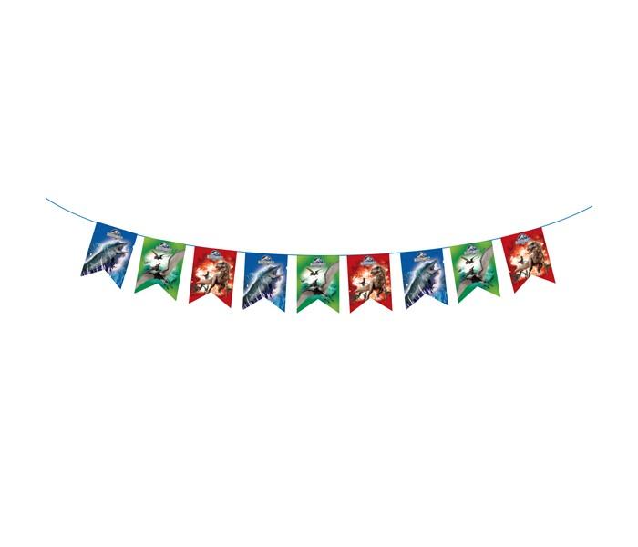 Товары для праздника Olala Гирлянда-флажки Динозавры Парк Юрского Периода товары для праздника olala салфетки barbie двухслойные 20 штук