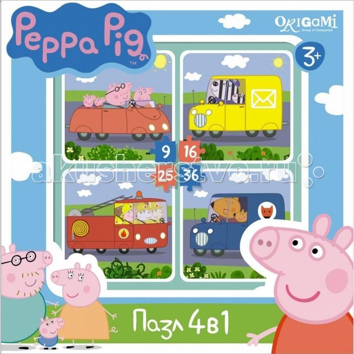 Пазлы Origami Peppa Pig Пазл 4 в 1 Транспорт (9-16-25-36 элементов) пазл росмэн росмэн коврик пазл peppa pig учим азбуку с пеппой 36 деталей