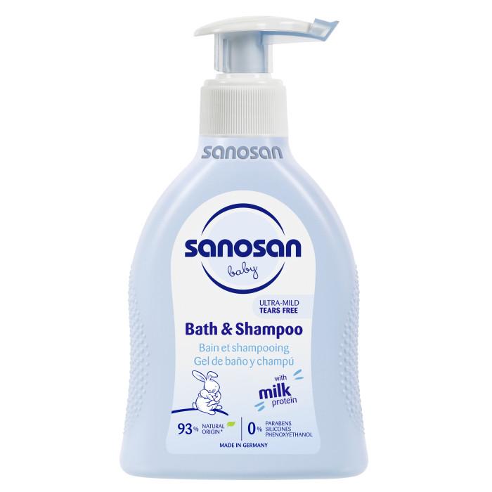 Косметика для новорожденных Sanosan Средство для купания и шампунь 200 мл косметика для мамы sanosan крем от растяжек для беременных 100 мл