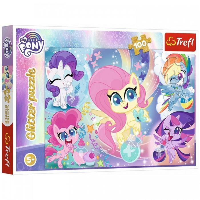 Пазлы Trefl Пазлы Glitter Блестящие Пони (100 элементов) набор пазлов trefl красивая минни 34119