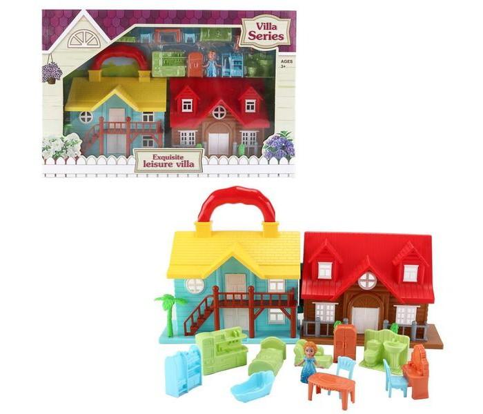 Junfa Дом кукольный с мебелью и человечками складной