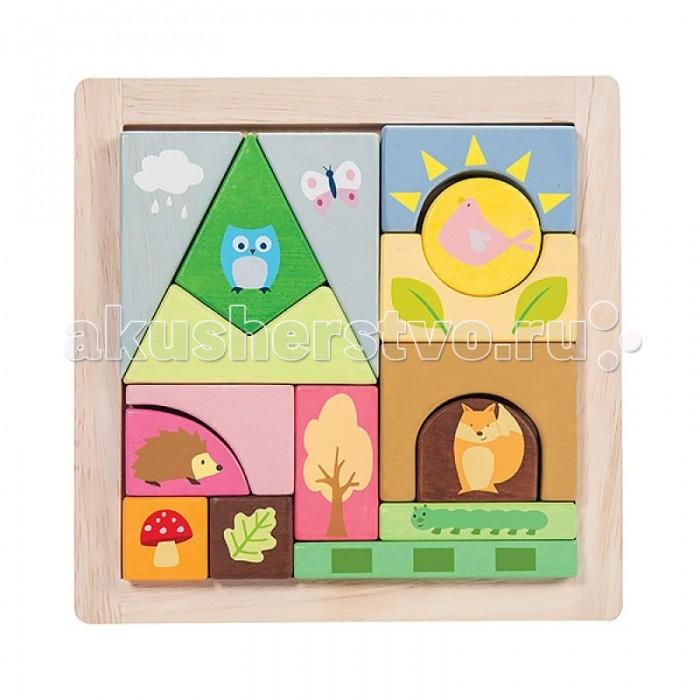 Деревянные игрушки LeToyVan Конструктор для малышей Лесные создания на планшете 17 элементов