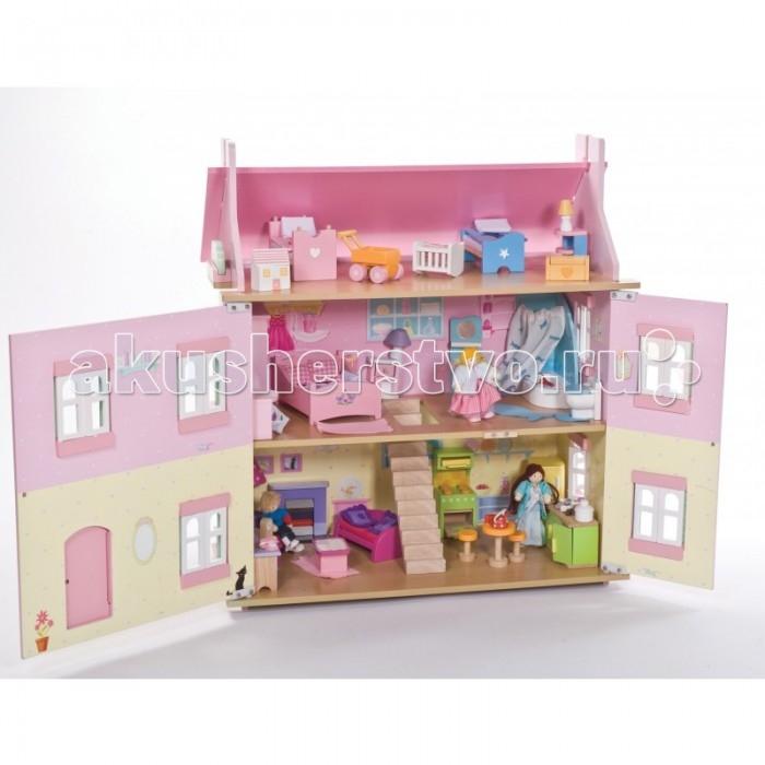 LeToyVan Набор кукольной мебели Сахарная слива 6 комнатНабор кукольной мебели Сахарная слива 6 комнатНабор кукольной мебели Сахарная слива 6 комнат.  Предметы мебели и интерьера для обстановки кукольного домика. 6 отдельных комнат: столовая, кухня, гостиная, ванная, спальня и детская подойдут куклам 10-15 см.  Дверцы и ящички в кукольной мебели свободно открываются и закрываются, выдвигаются так же, как у настоящей мебели. Элементы сделаны из дерева и ткани.   Размер предметов специально продуман для кукольных домиков и кукольной семьи - 1:12.  Предметы мебели и интерьера для обстановки кукольного домика.  6 отдельных комнат: столовая, кухня, гостиная, ванная, спальня и детская подойдут куклам 10-15 см.<br>