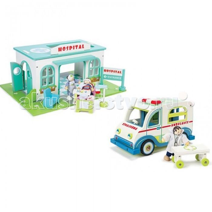 LeToyVan Набор Больница со скорой помощью и персонажамиНабор Больница со скорой помощью и персонажамиНабор Больница со скорой помощью и персонажами.  Больница с мебелью и 2 куклами: красочное игровое поле в виде цветущего газона, большое здание больницы похожее на настоящую модель, внутри здание больницы разделено на несколько помещений, центральный вход, выход во внутренний двор, запасной выход, ворота для скорой помощи, большие и светлые окна, плитка на полу, ко всем помещениям имеется свободный доступ и в крыше тоже, вертолетная площадка, кровать с комплектом постельного белья, столиком и историей болезни, кресло, раковина с краном, полотенцесушитель, капельница, указатель и большая стойка с надписью Больница - вход, фигурки медсестры и пациента.   Скорая помощь с доктором: большая деревянная машина - 44 см, сделана и окрашена как настоящая модель, задние дверцы открываются, оснащена каталкой для перевозки пациентов, в наборе кукла Budkins Доктор в медицинском костюме и со стетоскопом.   Набор включает в себя две игрушки, которые дополняют друг друга. В итоге вы получаете всё необходимое для увлекательной игры: здание больницы со всем необходимым оборудованием и мебелью, красивый автомобиль скорой помощи и три куклы: доктор, медсестра и пациент. Оба набора упакованы в красивые подарочные коробки.<br>
