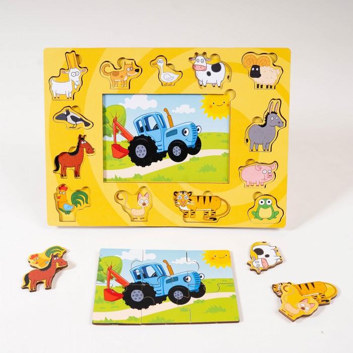 Деревянная игрушка BochArt Синий трактор и животные