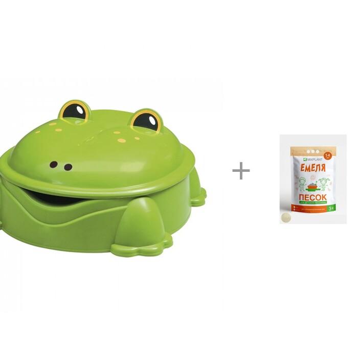 Paradiso Песочница лягушка с крышкой и Песок для песочниц Mixplant Емеля 14 кг