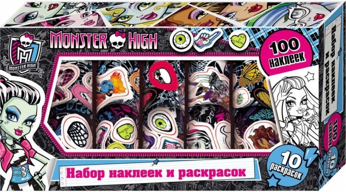 Детские наклейки Монстер Хай (Monster High) Наклейки и раскраски в коробке 23722 куклы монстер хай купить эбби и хит видео