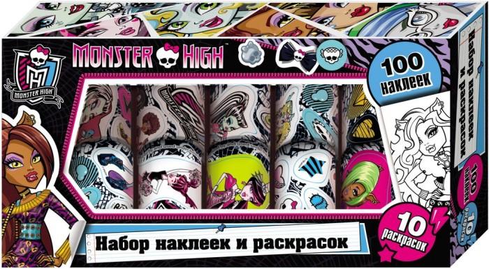 Детские наклейки Монстер Хай (Monster High) Наклейки и раскраски в коробке 23721 куклы монстер хай купить эбби и хит видео