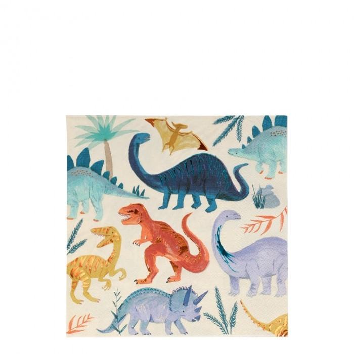 Купить Товары для праздника, MeriMeri Салфетки Динозавр 165х165 16 шт.