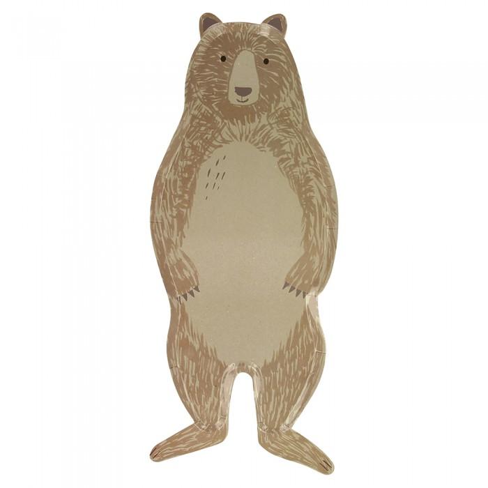 Товары для праздника MeriMeri Тарелки Лес в форме медведя 8 шт.