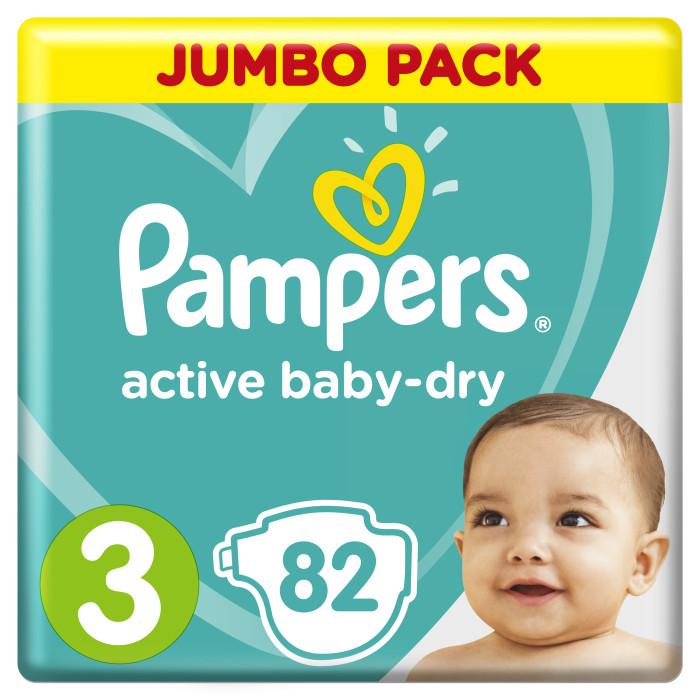 Подгузники Pampers Подгузники Active Baby Midi р.3 (6-10 кг) 82 шт. подгузники pampers active baby dry 5 11 18 кг 111 шт