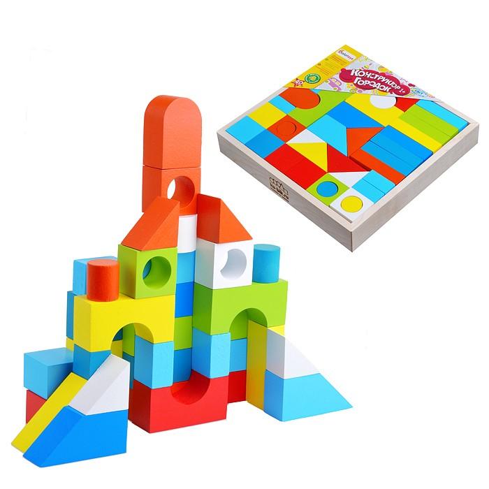 Деревянная игрушка Alatoys Городок окрашенный 40 деталей