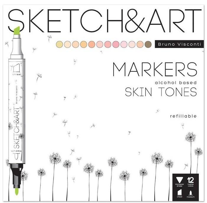 Картинка для Канцелярия Sketch&Art Набор маркеров двухсторонних Портрет 12 цветов