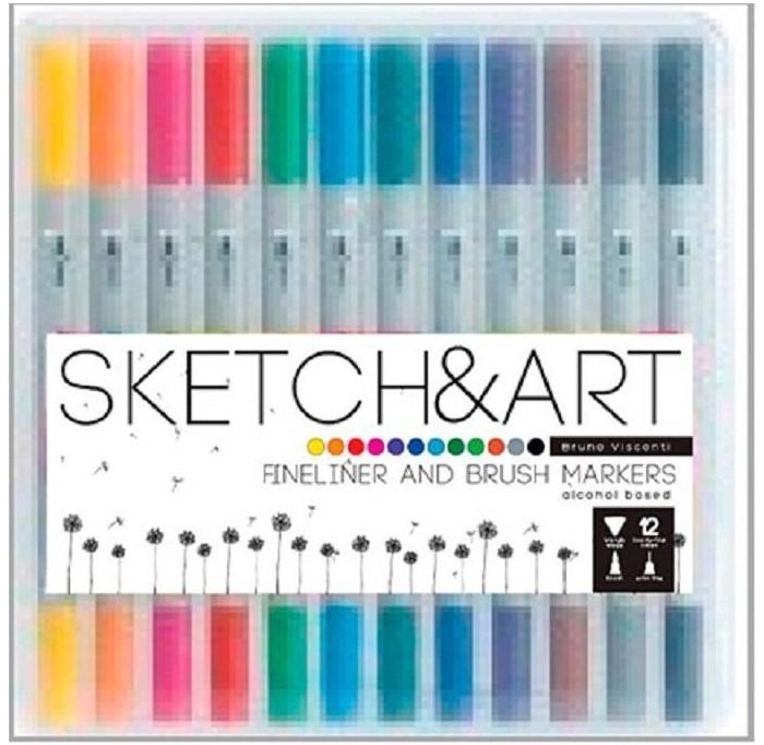 Картинка для Канцелярия Sketch&Art Набор маркеров двухсторонних Кисточка и линер 12 цветов