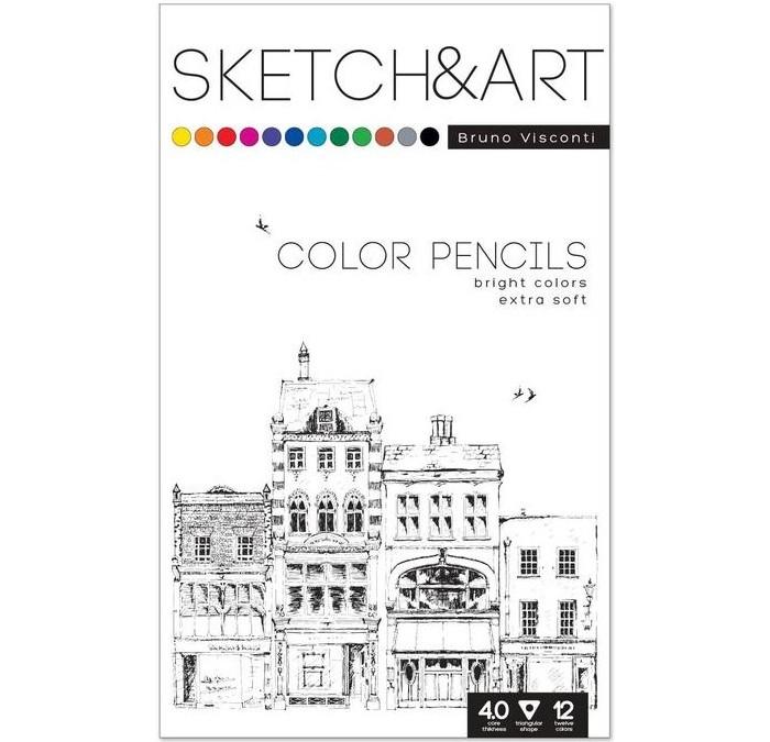 Карандаши, восковые мелки, пастель Sketch&Art Карандаши цветные трехгранные 12 цветов 1366370