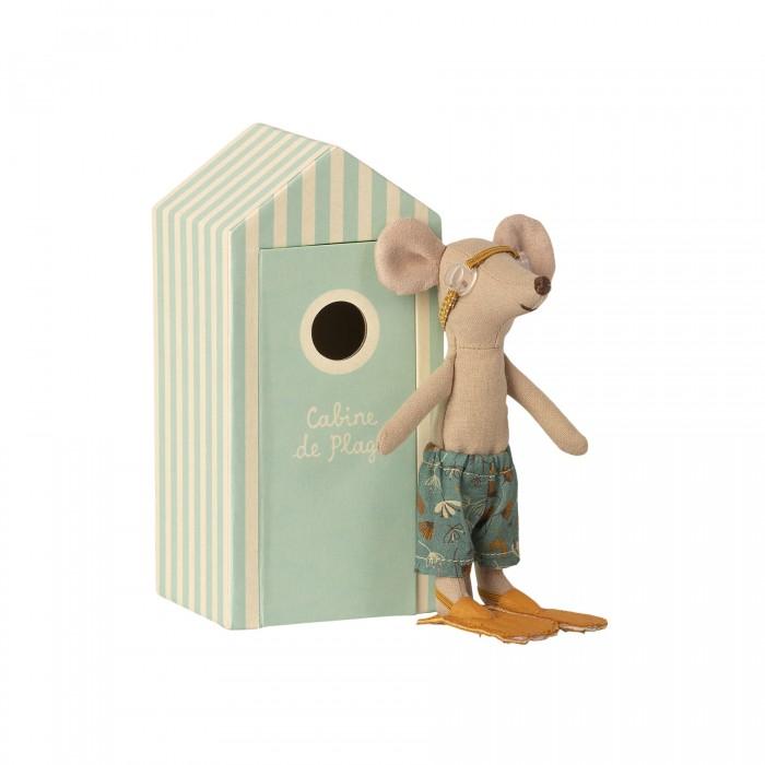 Мягкая игрушка Maileg Мышонок старший брат с пляжной кабинкой для переодевания