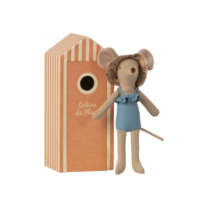 Мягкая игрушка Maileg Мышка мама с пляжной кабинкой для переодевания