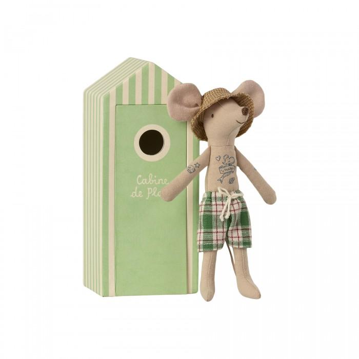 Мягкая игрушка Maileg Мышонок папа с пляжной кабинкой для переодевания