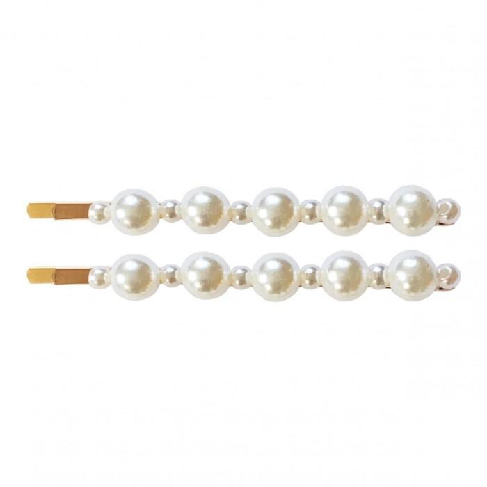 Milledeux Набор из двух невидимок с жемчугом разного размера Pearl