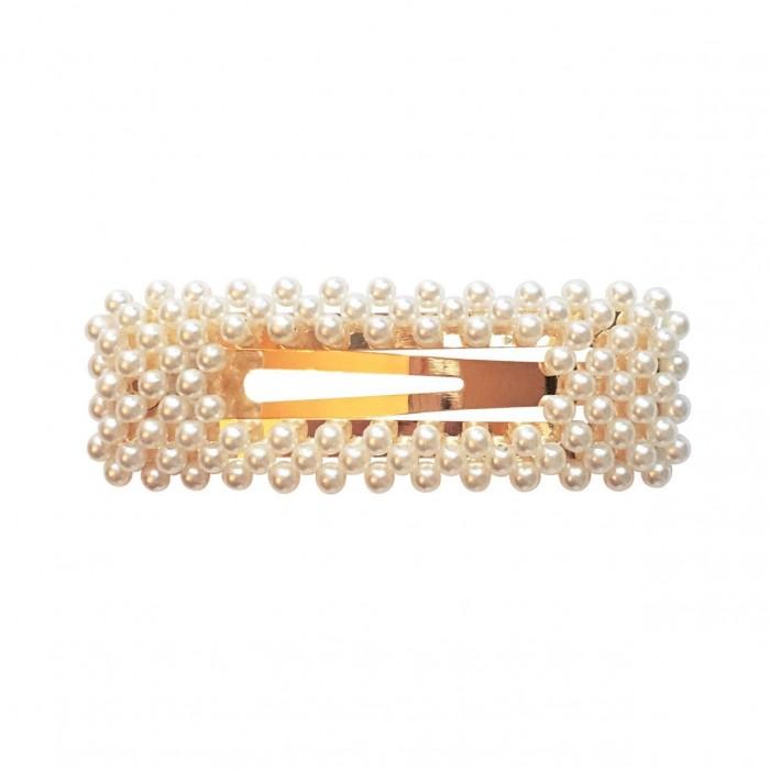 Milledeux Заколка клик-клак с жемчугом прямоугольная Pearl