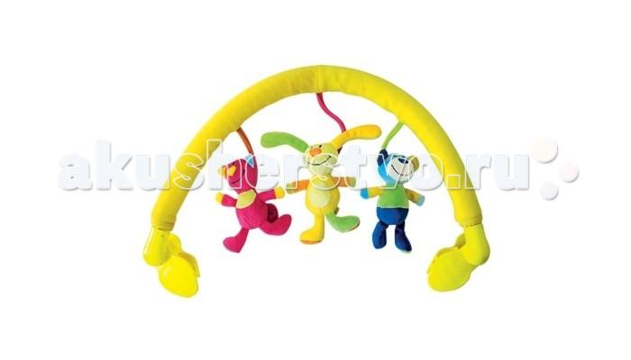 Расти Малыш Дуга на коляску Веселые ДрузьяДуга на коляску Веселые ДрузьяРасти Малыш Дуга на коляску Веселые Друзья станет отличным развлечением для ребенка.   Особенности: В качестве подвесок использованы 3 детских образа: котик, мишка, зайчик. В каждой подвеске имеется погремушка.  Дуга имеет удобные держатели с «вращающимся» механизмом.  Игрушка развивает зрение, слух, тактильное восприятие.<br>