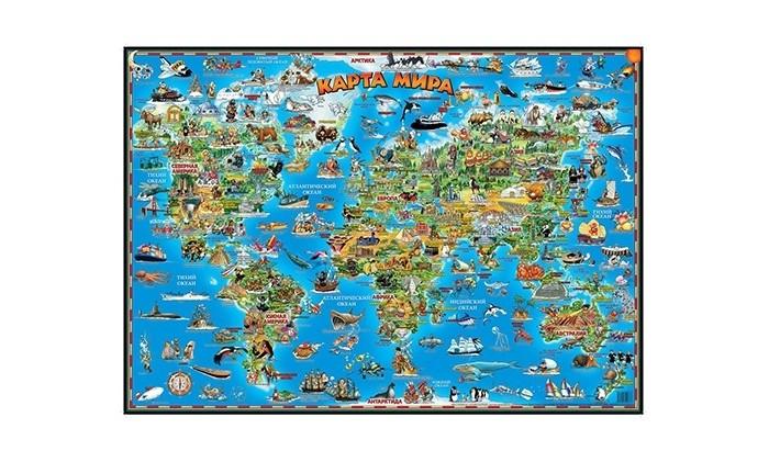 Атласы и карты Геоцентр Детская карта мира настольная бумбарам настольная двухсторонняя карта мира для детей