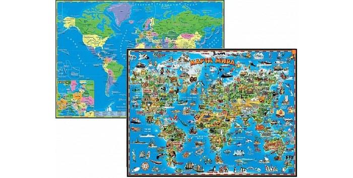 Атласы и карты Геоцентр Детская карта мира двусторонняя настольная бумбарам настольная двухсторонняя карта мира для детей